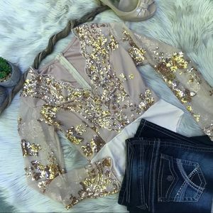 ☽ Vintage Gold Sexy Sequin Bodysuit ☽